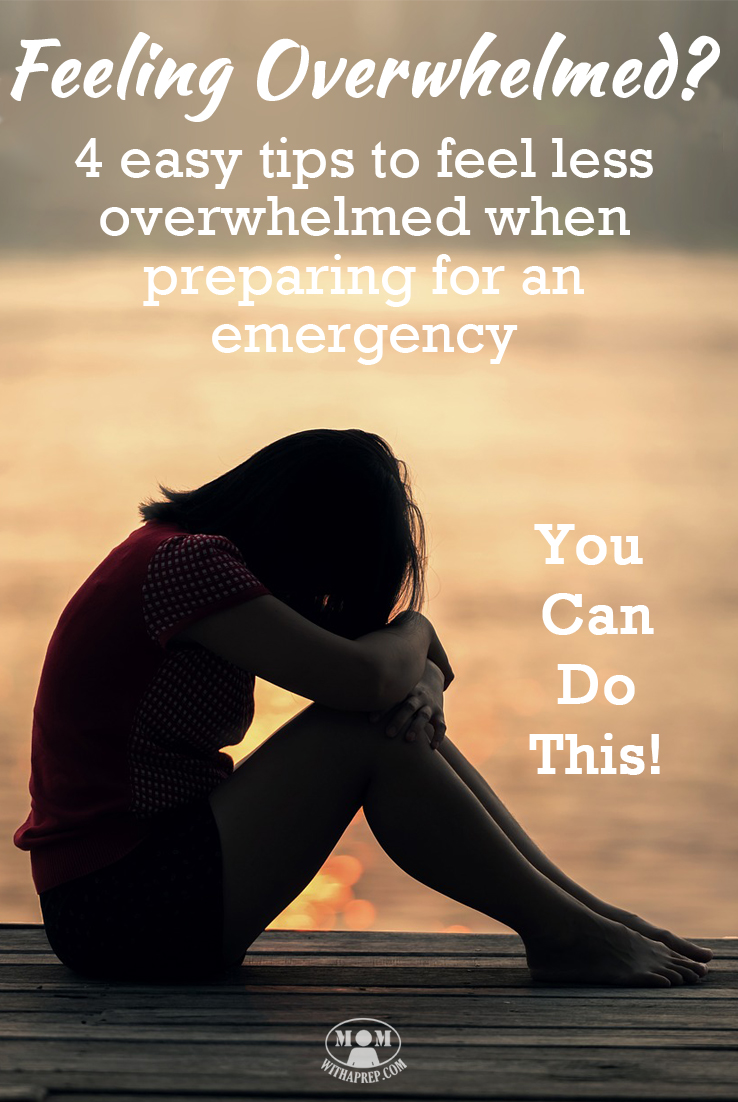 Feeling overwhelmed by all there is to do to become better prepared for an emergency? Here are 4 easy tips to help you get started! Emergency Preparedness, family preparedness, you can do this!