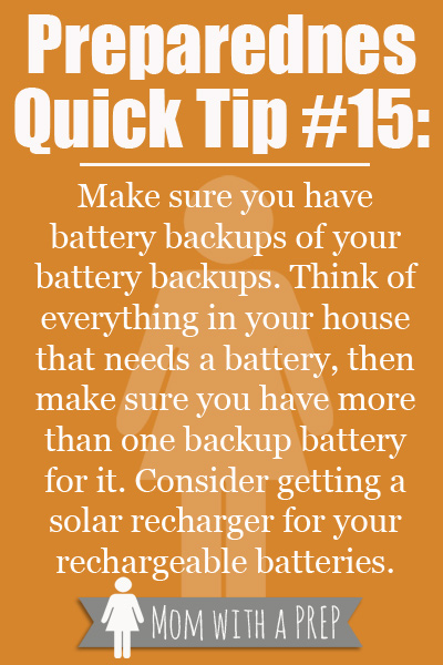 Do you have a bunch of batteries in that junk drawer in your kitchen? You probably have a pile of battery packs. But are you sure that everything you actually need is there? Look over your whole house, check what you're really going to need for an emergency, and that you have the battery backup for it.