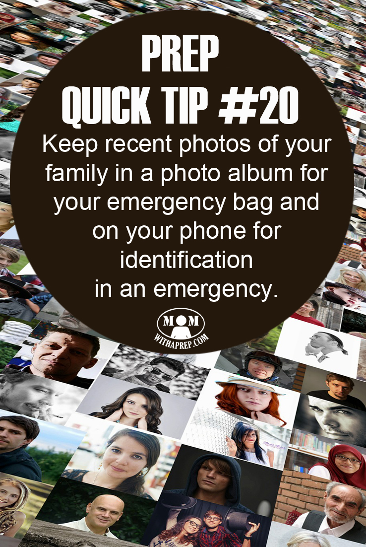 Keep recent family photos on your phone and in your emergency bag to help in identification during an emergency, especially for children!