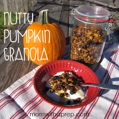 "Nutty Pumpkin Granola! What a great way to use leftover pumpkin puree! (wait..is there such a thing as ""LEFTOVER PUMPKIN""? At least this is a great way to use it!"