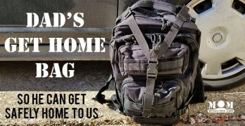 backpack with emergency gear by a car with text - Dad's Get Home Bag