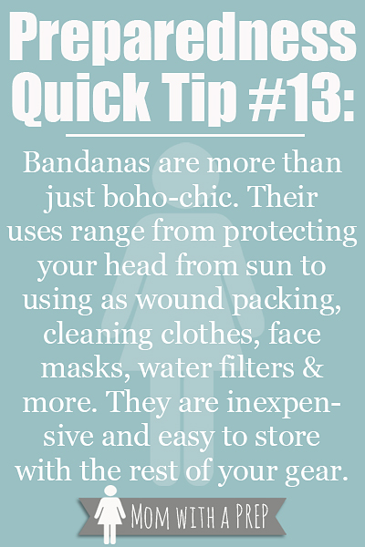PQT # 13 - Bandanas are more than boho-chic. Read more on their uses at MomwithaPREP.com