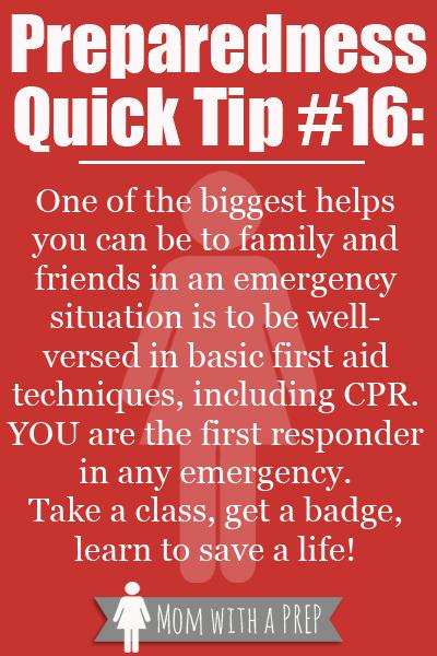 PQT # 16 -- Take a First Aid Class to help save a life.