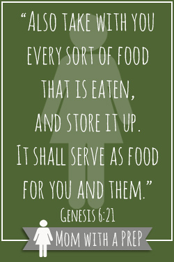 """Also take with you every sort of food that is eaten, and store it up. It shall serve as food for you and them."""" Genesis 6:21"""