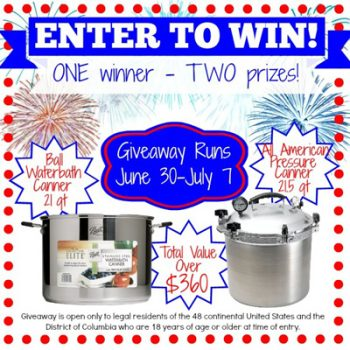 Canning package giveaway @ MomwithaPREP.com Ends July 7