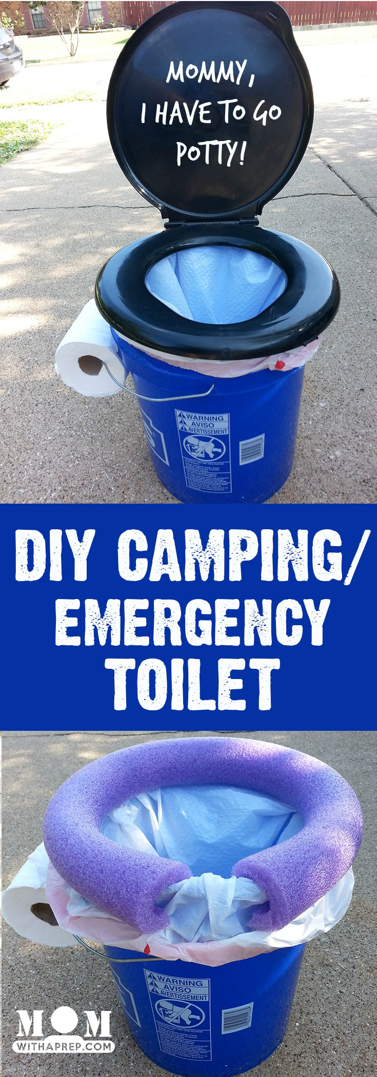 An easy, DIY, camping / emergency preparedness toilet that's also good for those long-distance vacation road trips!