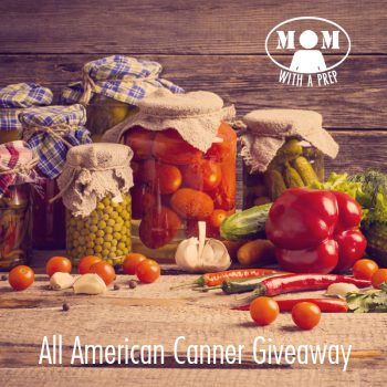 The All-American Canner Giveaway at Momwithaprep.com through April 24, 2015. Win an All American 21 Qt Pressure Canner/Cooker + a Ball Stainless Steel Waterbath Canner + a 6 month membership to the Self-Reliant School!