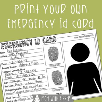 Do you have emergency ID cards with pertinent information about your children for them to carry in their school emergency kits, your emergency bags or even their pockets when on a field trip? Check out this free printable from Mom with a PREP.