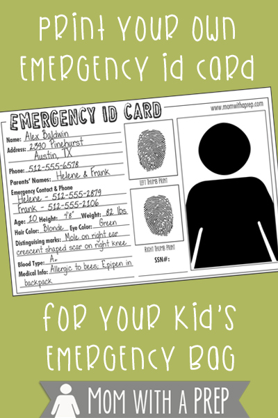 do you have emergency id cards with pertinent information about your children for them to carry