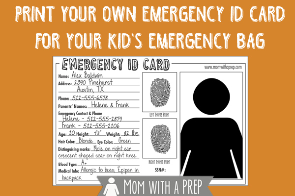 picture relating to Printable Id Cards named Crisis Identification Playing cards - Free of charge Obtain - Mother with a PREP