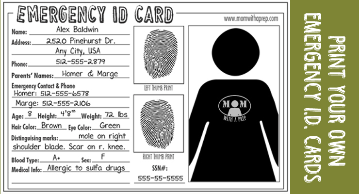 photograph about Printable Id Cards named Unexpected emergency Identity Playing cards - Free of charge Down load - Mother with a PREP
