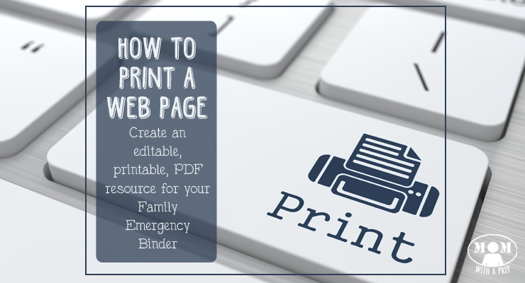 Wish you could print out a page of information to add to your Family Emergency Binder....but want to edit it? I'll show you how to create a printable PDF resource page!