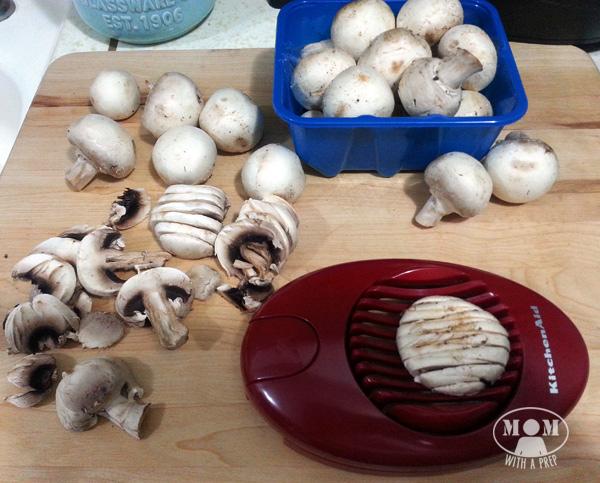 slice mushrooms