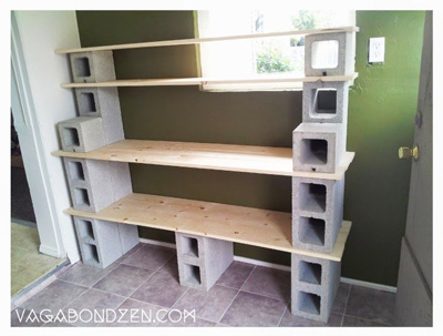 25+ DIY Cinder Block Projects for Your Home @ Momwithaprep.com | Project Shown: Pantry work station from Vagabondzen