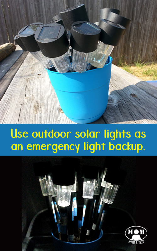 Use solar lights stored in a flower pot in your backyard to create an emergency lighting backup for those times you lose power. This simple hack is probably something you probably already have in your backyard. Get more info at https://momwithaprep.com/solar-light-flower-pot