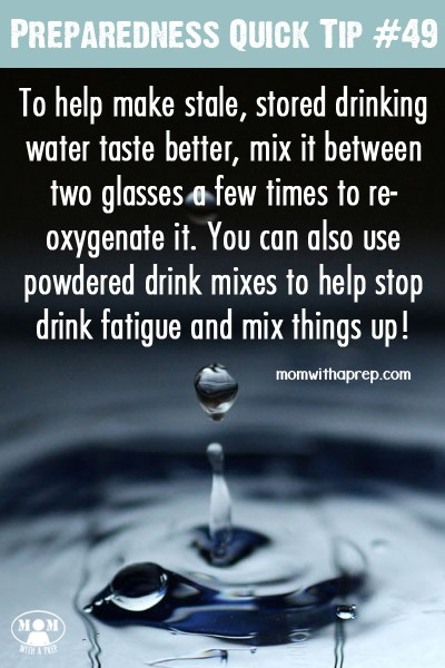 There's nothing like getting a glass of water from your stored water and having it taste 'funny'. Here are some tips to help make your stored water taste better.