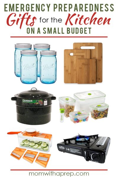 Preparedness Gift Ideas for the Kitchen to help you gift the gift of preparedness to your family and friends for Christmas, birthdays, weddings and more!