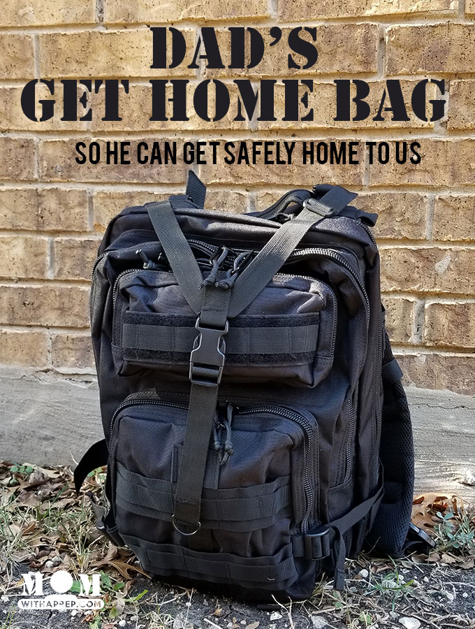 Dad's Get Home Bag - a bug out bag for emergencies to help get home from work in case of emergencies | Commuters emergency kit -- a list of items to help prepare you for the long walk home if an emergency happens while you're away at work.