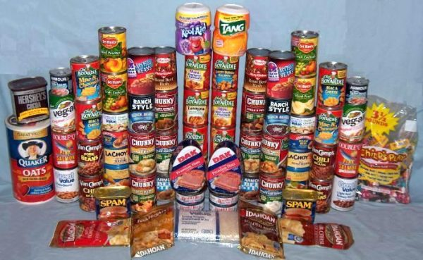 Emergency food supplies such as canned goods, juice, and more