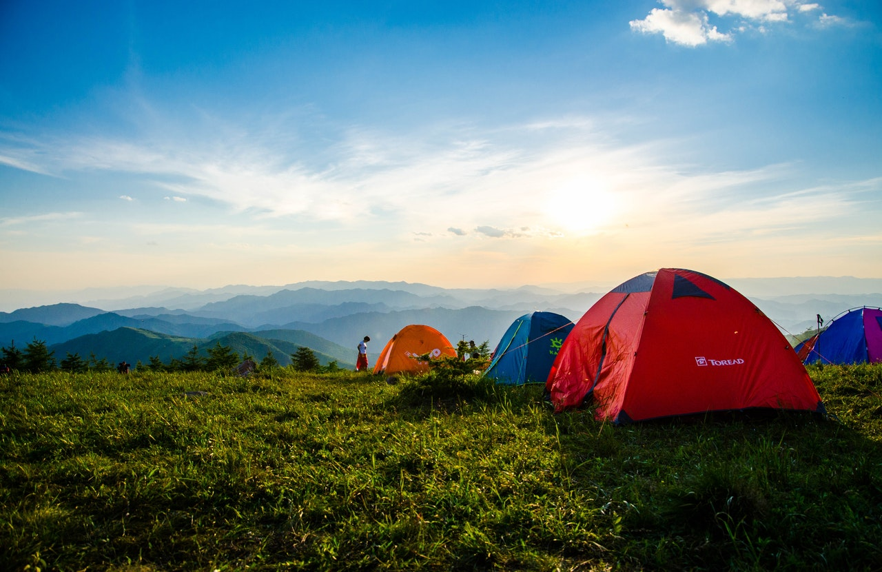 Camping tents at the top of the mountain