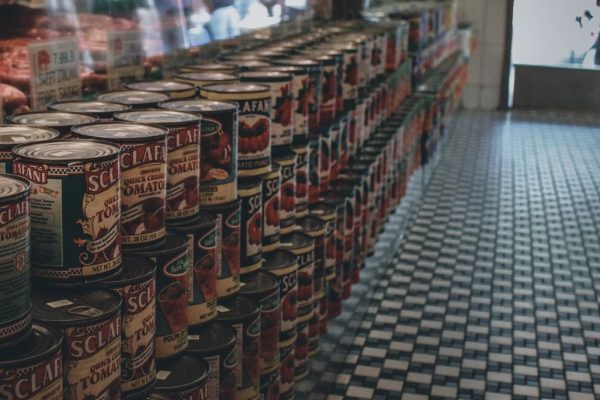 number 10 cans in grocery store for introduction to emergency preparation article.